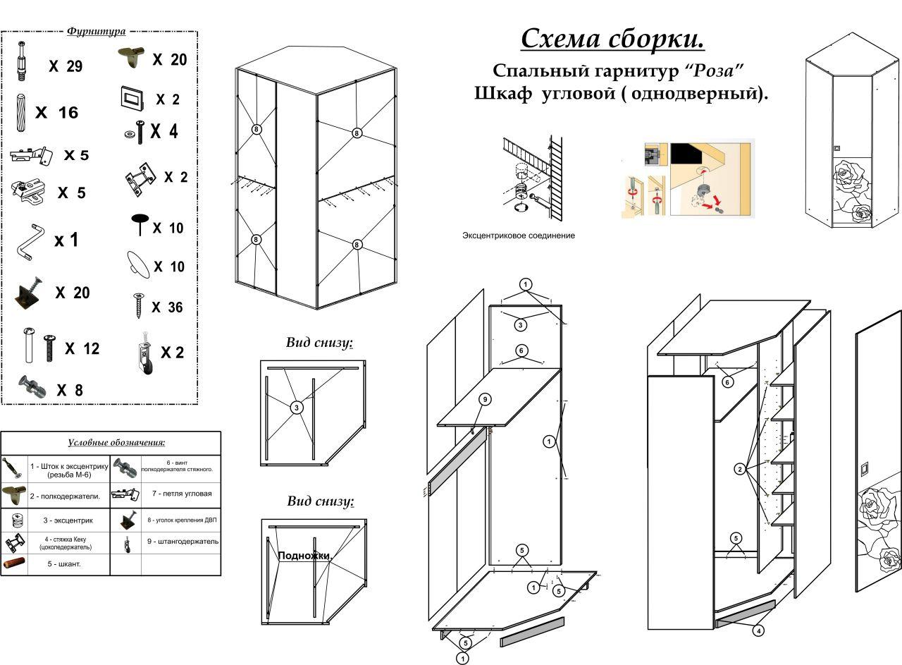 Угловой шкаф аврора схема сборки